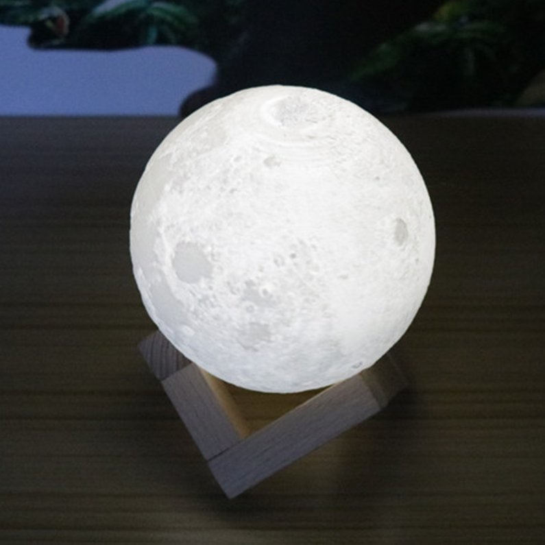 NEW Upgraded Colorful 3D Print Moon Lamp Color Change Bed...