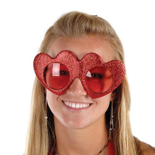 Glittered Heart Glasses