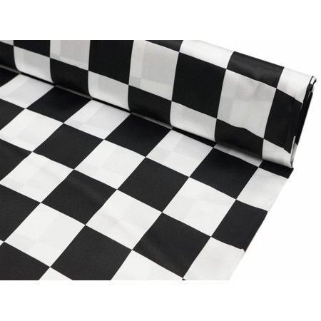 Party Decorative Checkered Satin Fabric Bolt By Yard Black/White 54