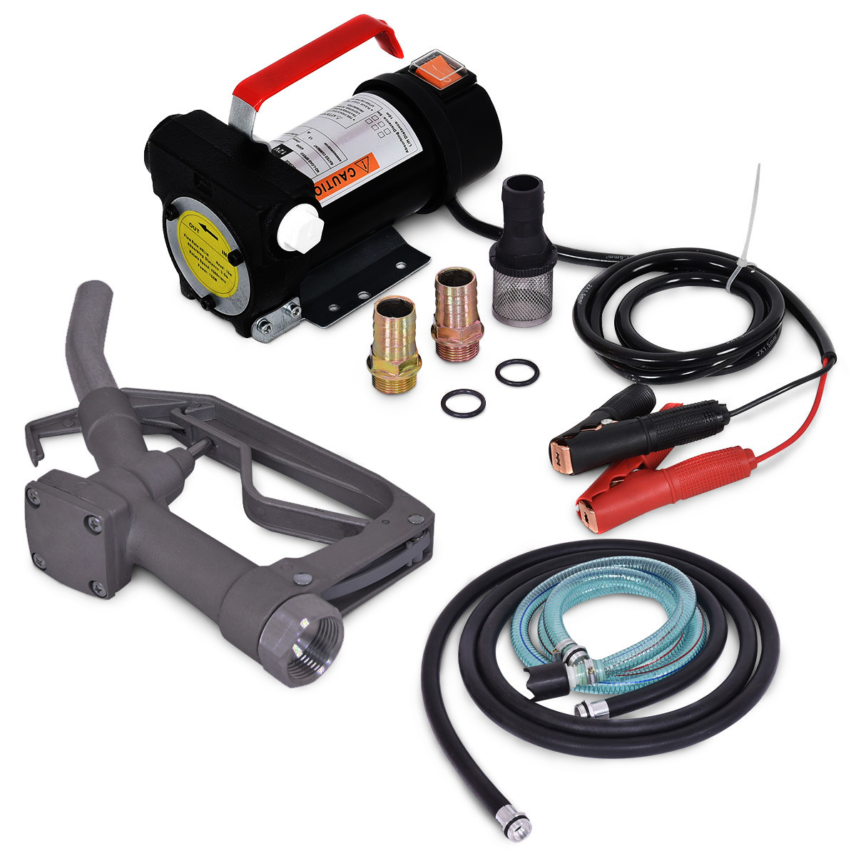 ARKSEN 12V 10GPM Electric Diesel Fuel Transfer Extractor Pump Battery Powered w/ Nozzle & Hose Kit