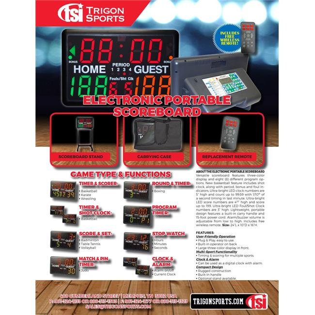 Trigon Sports SCORE2 Multi-Sport Indoor Tabletop Scoreboard & Timer by Trigon Sports