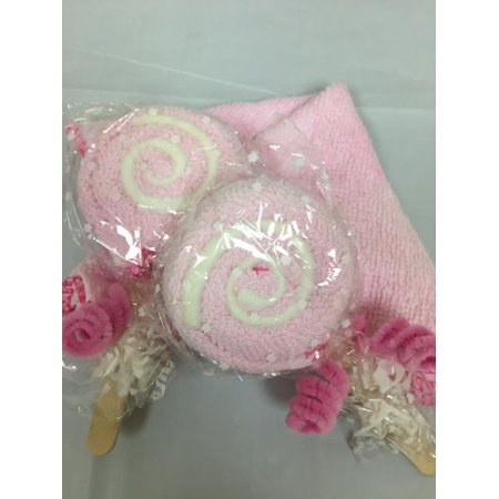 Lovely Lollipop Washcloth Creative Bath Spa Towel Wedding Party Favor.  Pink color!  2 Pieces