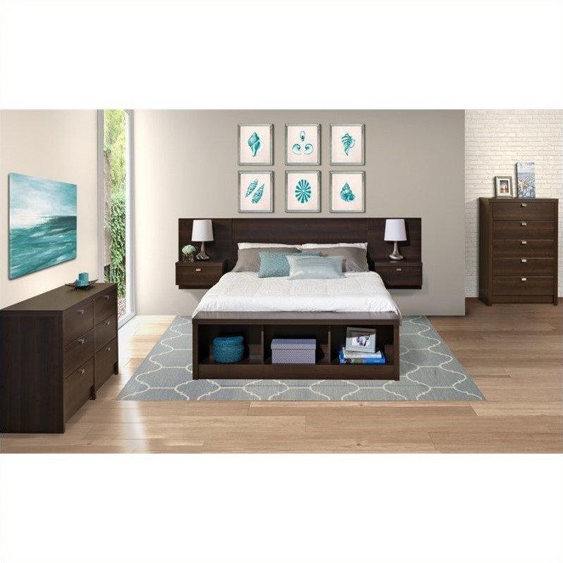 Prepac Series 9 Designer 4-Piece Bedroom Set in Espresso by Prepac
