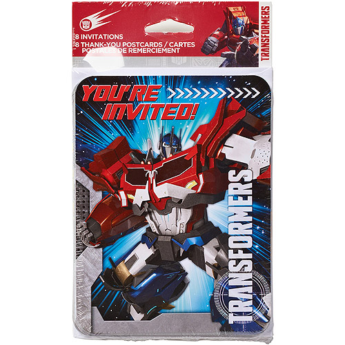 Transformers Invite and Thank You Combo 8 Pack Party Supplies
