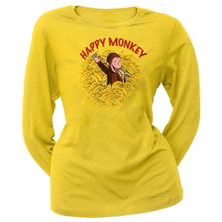 Happy Monkey - Curious George - Happy Monkey Juniors Long Sleeve T-Shirt