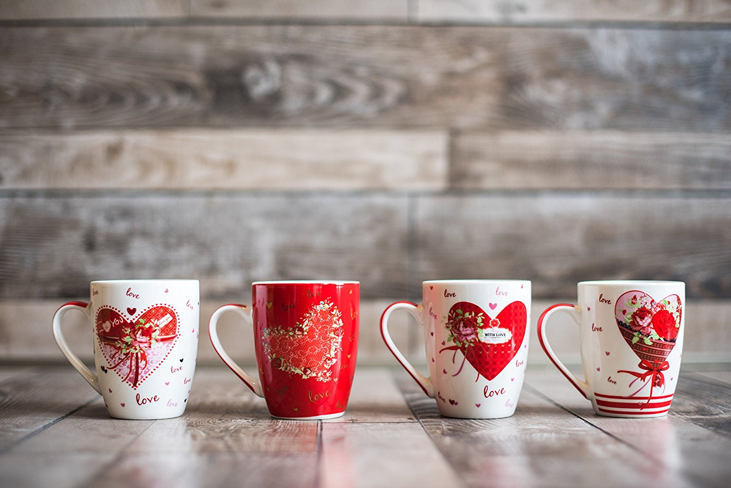 All For You New Bone China Mug with Gift Box-I Love You, , Hear Shape-Set of 4, 12 Oz,... by All For You Home