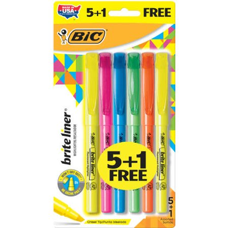 BIC Brite Assorted Liner Highlighters, 6 ct