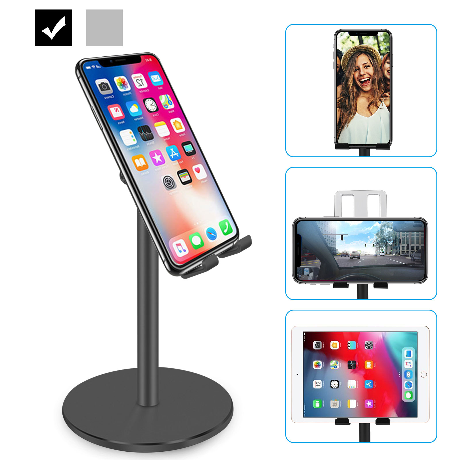 Desire2 View Cell Phone Stand Holder Mobile Phone Dock Compatible for iPhone Xs Max XR 8 Plus 6 7 6S X 5 Samsung Galaxy S10 S9 S8 S7 Edge S6 Android Smartphone Holder for Desk Adjustable Foldable