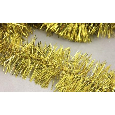 50' Shiny Gold Festive Christmas Foil Tinsel Garland - Unlit - 6 Ply](Tinsel Gold)