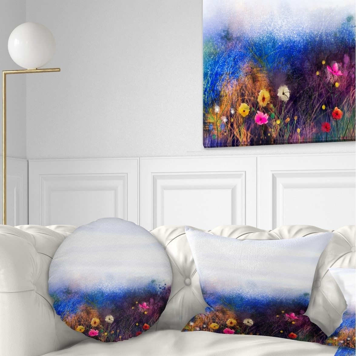 Designart Cu14092 16 16 Watercolor Painting Flower In Meadow Floral Cushion Cover For Living Room Insert Printed On Both Side Sofa Throw Pillow 16 In In X 16 In Throw Pillow Covers Bedding