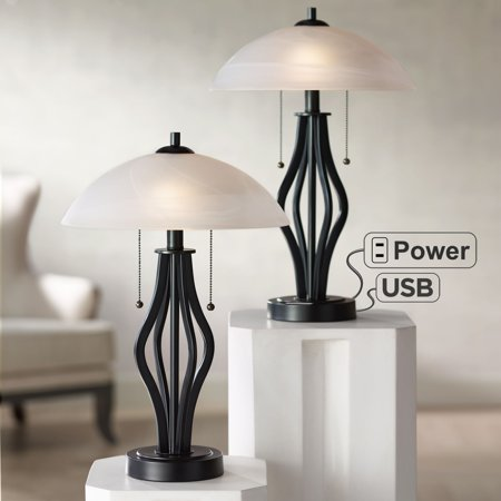 360 Lighting Modern Accent Table Lamps Set of 2 with USB Port and Outlet Dark Metal Base Glass Dome Shade for Living Room Bedroom Glass Uplight Accent Lamp