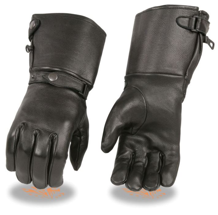 Milwaukee Mens Deerskin Leather Ultra Long Gauntlet Gloves W/Wrist Strap And Snap Cuff Black