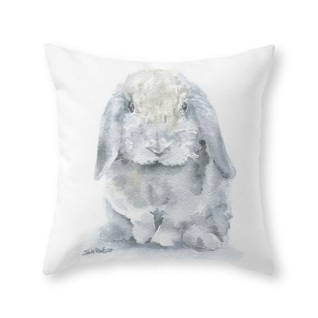 Society40 Mini Lop Gray Rabbit Watercolor Painting Throw Pillow Beauteous 16x16 Pillow Insert Walmart