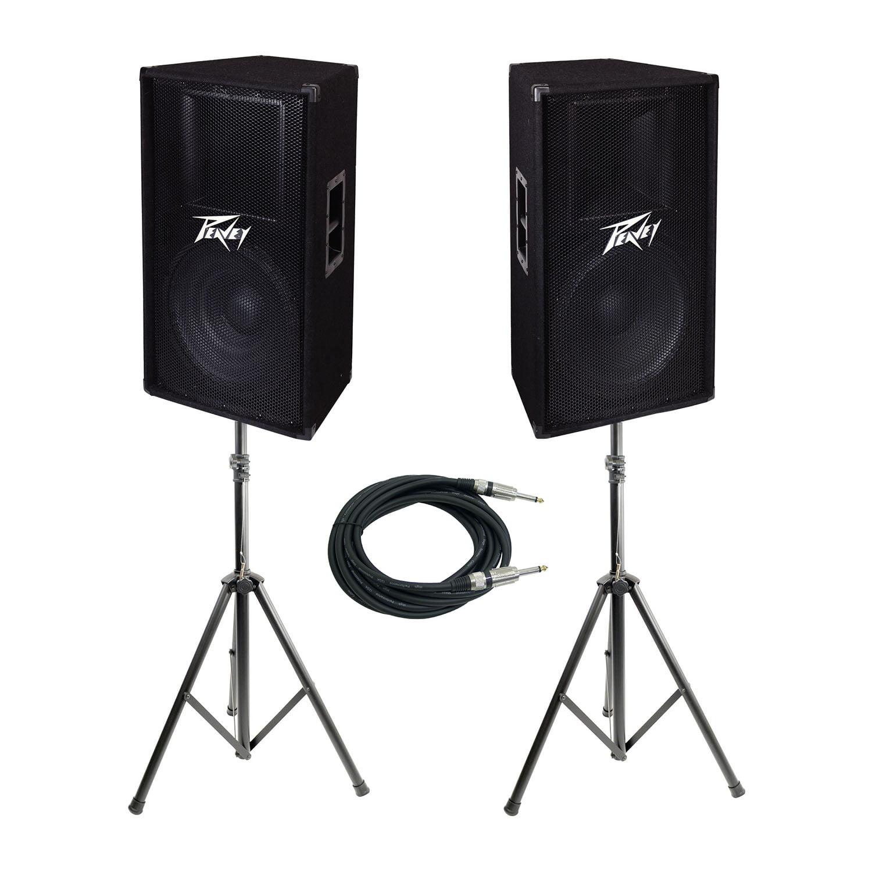 "Peavey PV 115 15"" 2-Way Pro DJ Live Sound Speaker + Speaker Stands & Cable Kit by"