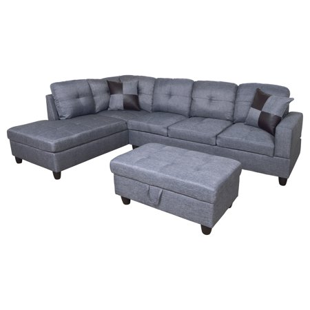 For-U Furnishing Gray MicroFiber Sectional Sofa, Left Facing Chaise, 74.5\