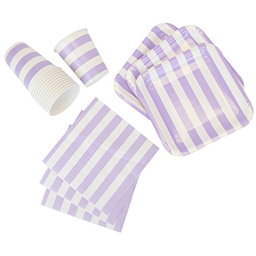 Just Artifacts Disposable Party Tableware 44pcs Striped Pattern Dining Set (Square Plates, Cups, Napkins) - Color: Purple - Decorative Tableware for Parties, Baby Showers, and Life Celebrations!