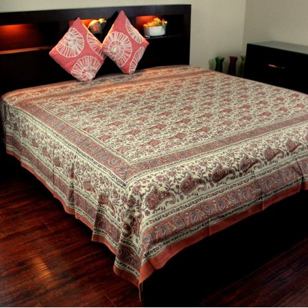 Cotton Rajasthan Paisley Floral Block Print Tapestry Wall Hanging Bedspread Tablecloth Beach Sheet Full 88 x 108 - Cotton Floral Wall Hanging