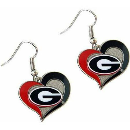 - NCAA Georgia Swirl Heart Shape Dangle Logo Earring Set
