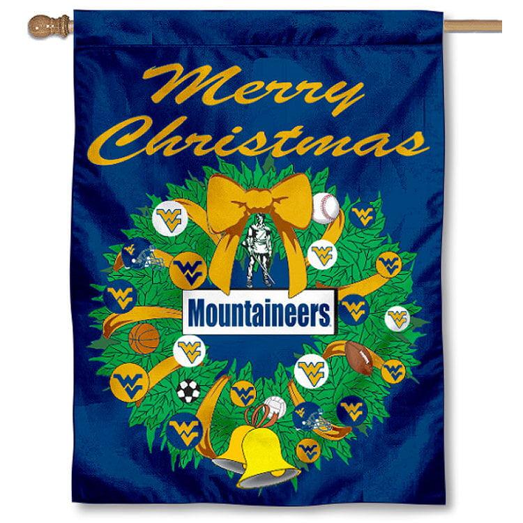 West Virginia University Mountaineers Merry Christmas Banner Flag