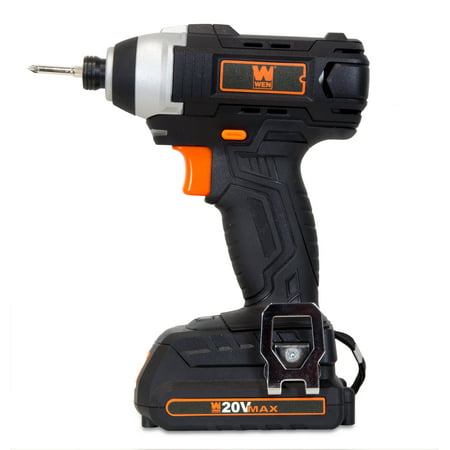 WEN 20-Volt MAX Lithium-Ion Cordless 1/4-Inch Impact Driver w/ Battery, Bits, Charger and Carrying