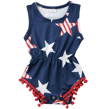Baby Girls 4th Of July Outfits Sleeveles USA Flag Stars Tassel Romper Jumpsuit - Fourth Of July Outfits Women