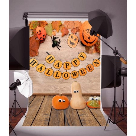 HelloDecor Polyster Backdrop 5x7ft Photography Background Happy Halloween theme Party Celebration Smiling Pumpkin Face Maple Leaves Child Kids Adults Portraits Background Studio Props