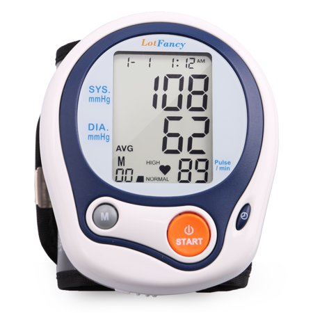 Lotfancy Automatic Digital Wrist Blood Pressure Monitor With Case  Irregular Heartbeat Detector  60 Memories  Who Indicator  Fda Approved  Large Lcd