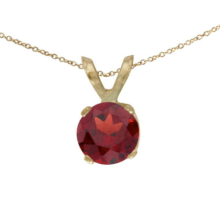 10k Yellow Gold 5 mm Round Garnet Pendant with 16