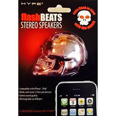 HYPE Metallic Purple Skeleton FlashBEATS Stereo Speakers ~ Flashing Eyes ~ Stereo Quality