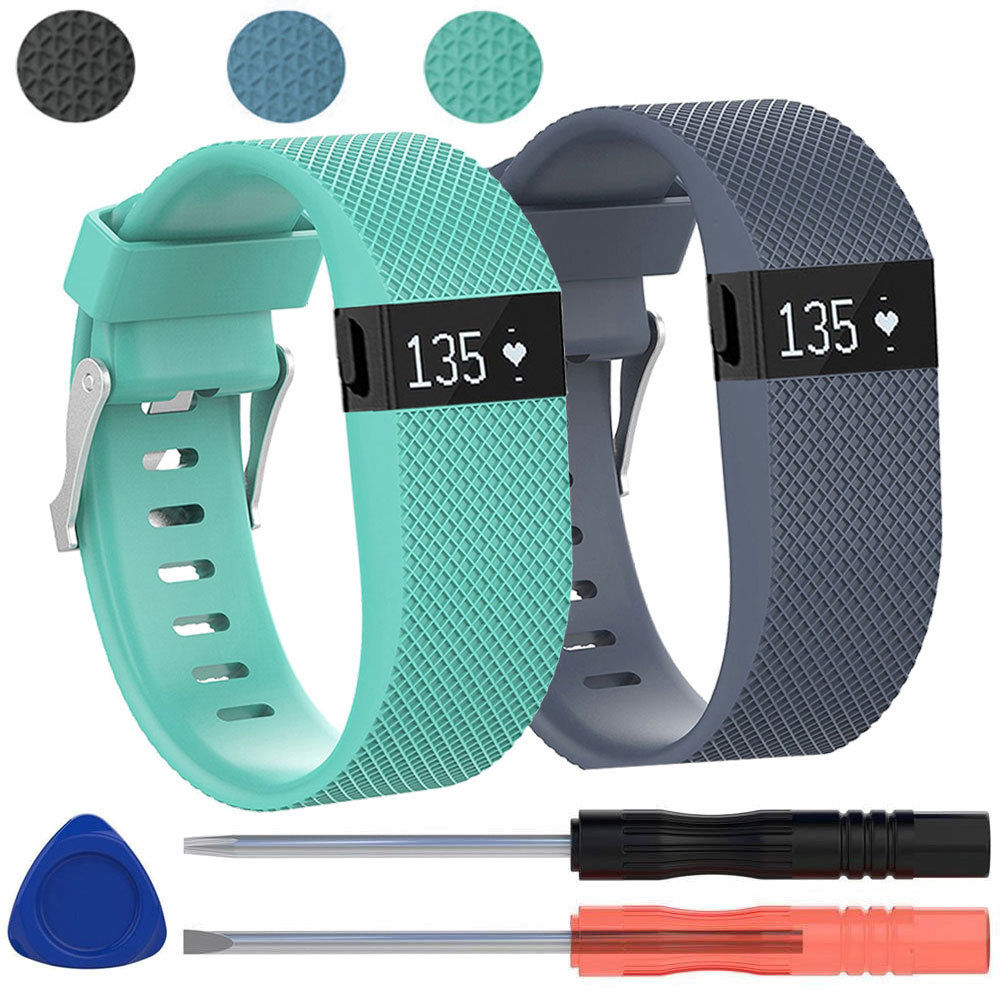 2-pack Replacement Silicone Band Wrist Strap Bracelet w/Tool for Fitbit Charge HR Large