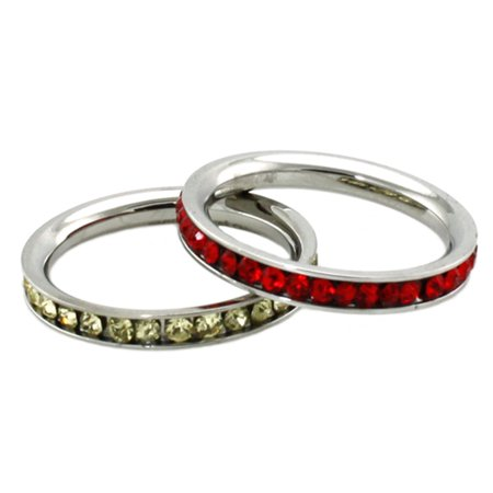 Stainless Steel Eternity 3 mm Ruby & Citrine Color Crystal Stackable Rings (2 pieces) Set