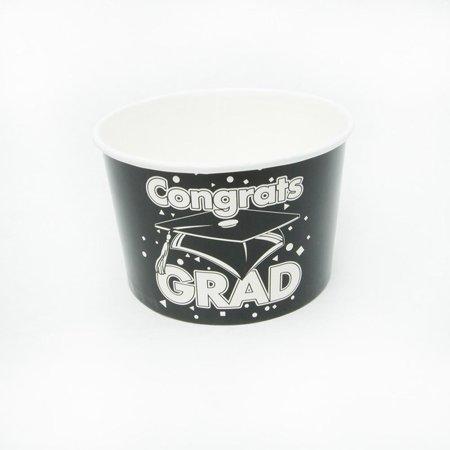Black Congrats Grad Snack Bowls - Black And White Snacks