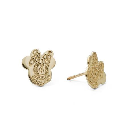 10kt Yellow Gold Minnie Mouse Stud Earrings Disney Hoop Earring
