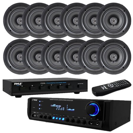 Pyle 300 Watt Digital Home Theater Receiver with 8 Ch. Speaker Selector Aux (3.5mm) Input, MP3/USB/AM/FM Radio, (2) Mic Inputs5.25 In-Wall / In-Ceiling Dual Stereo Speakers, 1