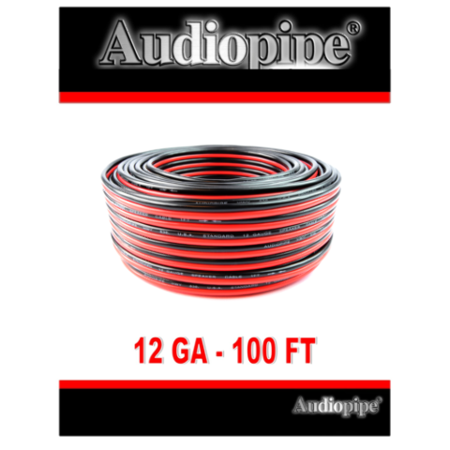 Audiopipe 12 Gauge 100 FT Red Black Car audio Stereo Speaker Wire Zip Cable