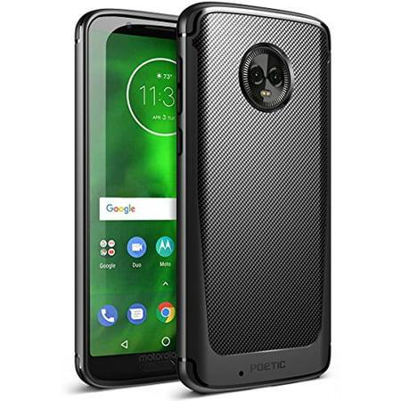 Poetic Moto G6 Case, Karbon Shield [Shock Absorbing] Slim Fit TPU Case with [Carbon Fiber Texture] for Motorola Moto G6 Black