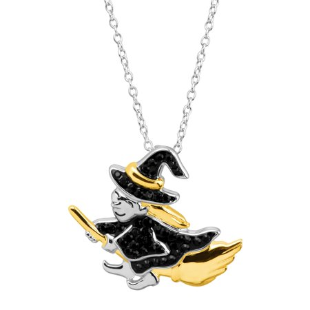 Luminesse Witch & Broomstick Pendant Necklace with Swarovski Crystals in Rhodium & 18kt Gold-Plated Sterling Silver](Witch Doctors Necklace)
