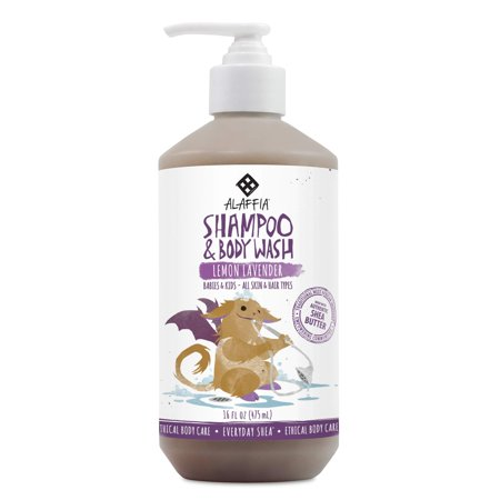 Alaffia - Everyday Shea Shampoo and Body Wash, Babies and Kids, Gentle and Calming Support for Soft Hair and Skin with Shea Butter, Neem, and Coconut Oil, Fair Trade, Lemon Lavender, 16 Ounces (FFP) S (Buyer Support)