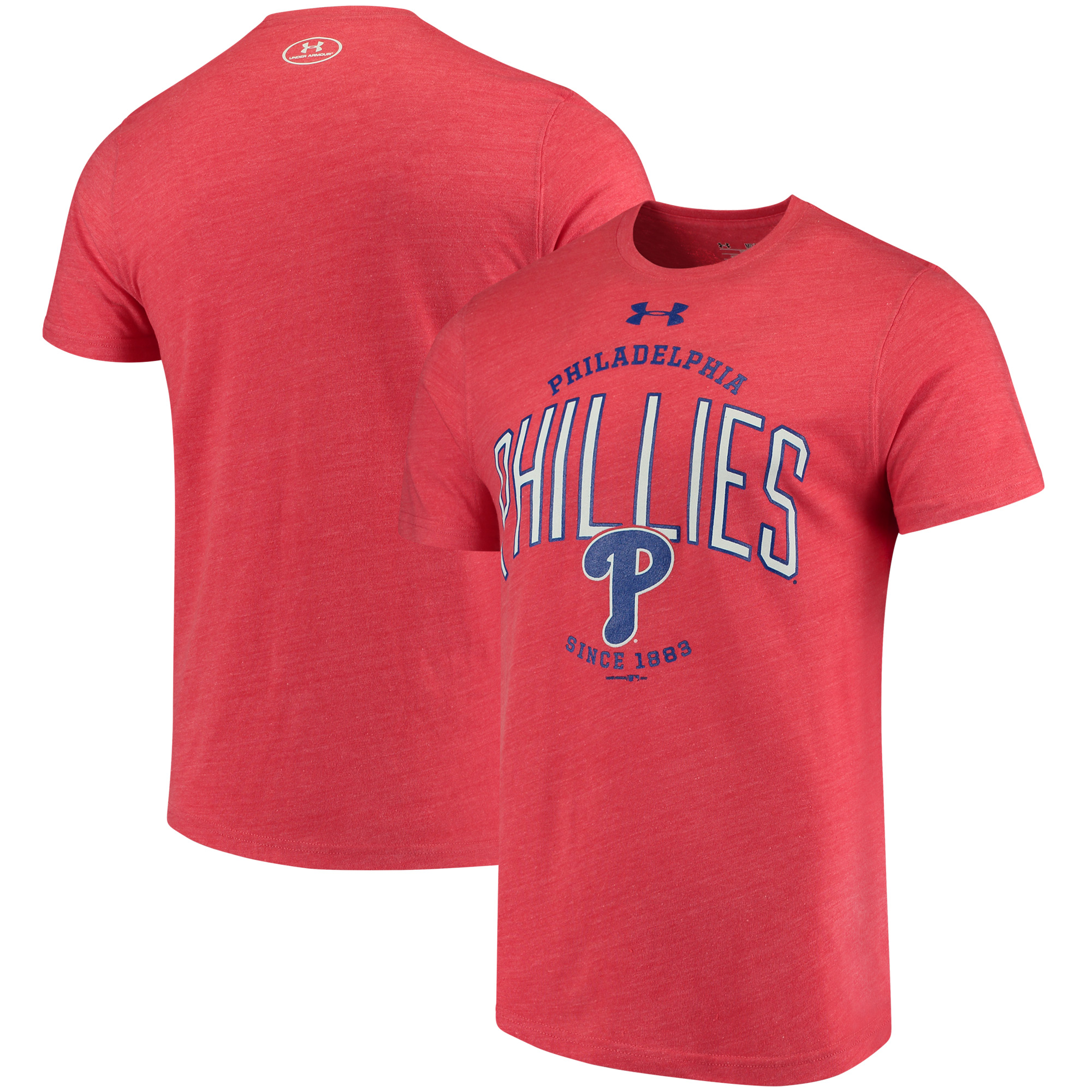 Philadelphia Phillies Under Armour Team Logo Tri-Blend T-Shirt - Red