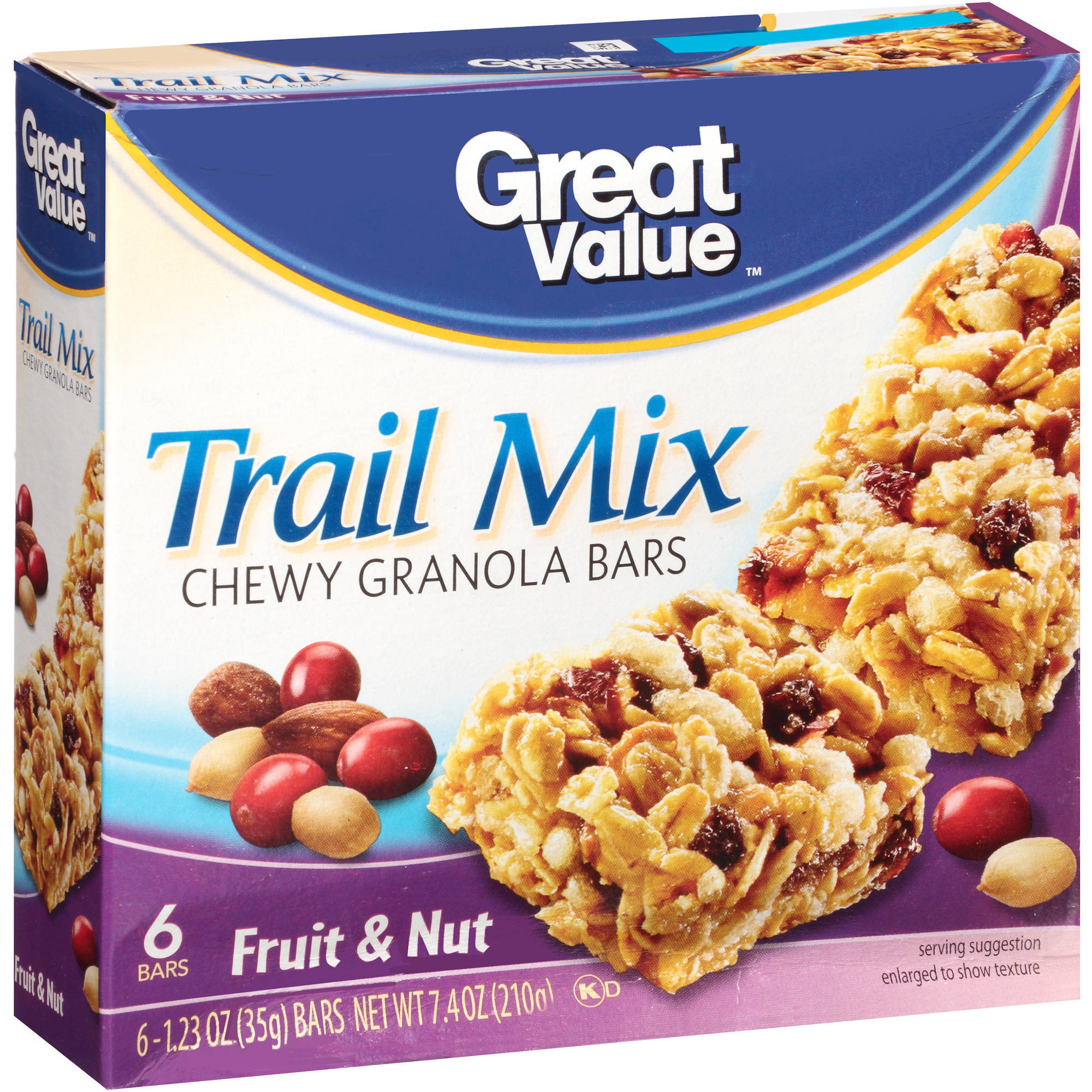 Great Value Fruit & Nut Trail Mix Granola Bar, 6 pk