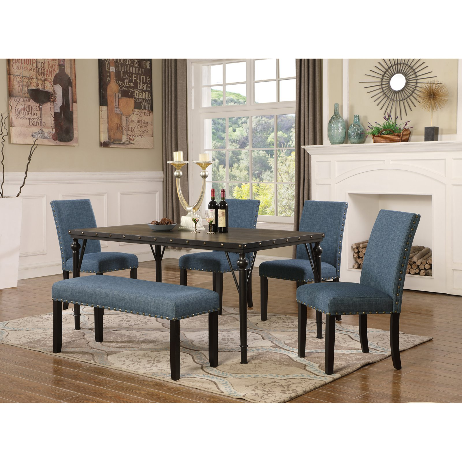 Roundhill Furniture Biony 6 Piece Wooden Dining Table Set