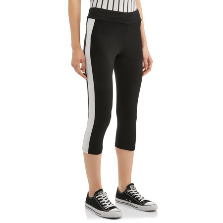 Juniors' Peached Jersey Knit Side Striped Capri (Side Stripe Kit)