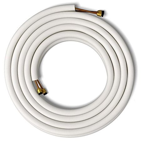 senville 25' insulated copper pipes for air conditioning - 1/4  & 1/2  1/4  x 1/2  all copper line set, commonly used for 12000 btu and 18000 btu mini split air conditioners. pre-flared for easy and simple connection on most mini split air conditioners and brands.SKU:ADIB007XIJ0TE