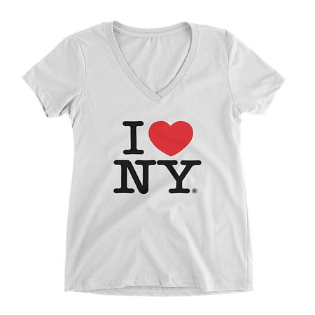 I Love NY New York Womens V-Neck T-Shirt Spandex Heart White (Zoo York Womens Tee)