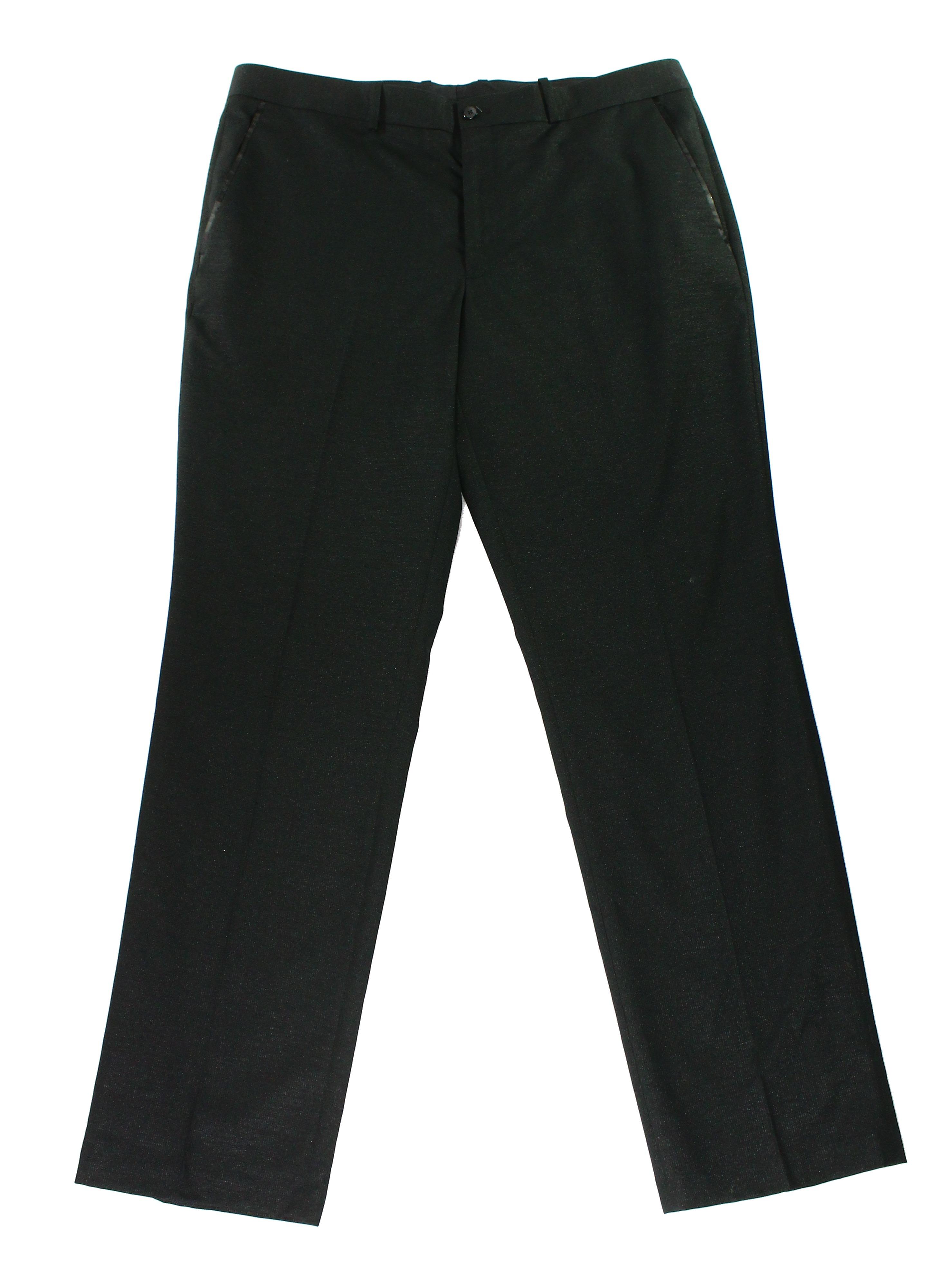 Alfani NEW Deep Black Mens Size 34x34 Flat Front Slim-Fit Dress Pants