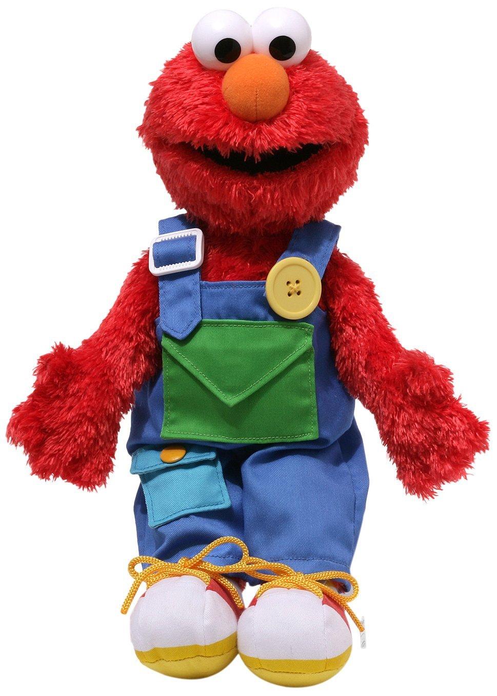Sesame Street Teach Me Elmo Stuffed Animal, Overall straps button By GUND From USA by GUND