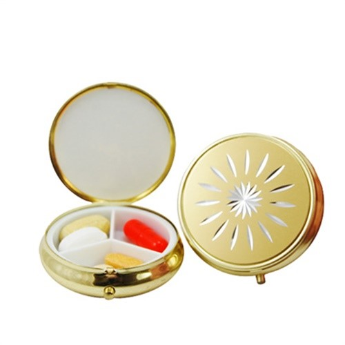 3 Compartment Round Fashion Pill Case (Gold Star)