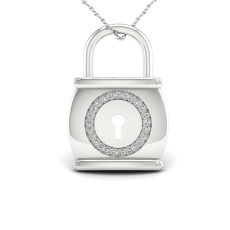 4b0669cfb2f75 IMPERIAL - 1 10ct TDW Diamond Sterling Silver Lock Necklace - Walmart.com