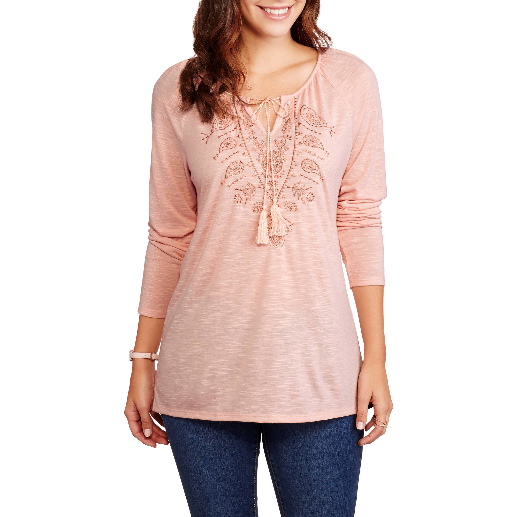 Faded Glory Women's Embroidered Knit Peasant Tunic