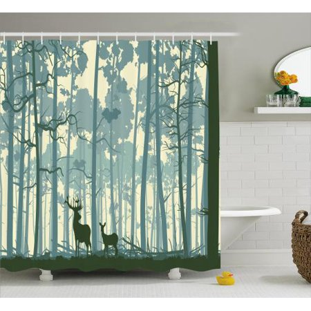 Deer shower curtain set silhouette of animal in foggy for Animal themed bathroom decor